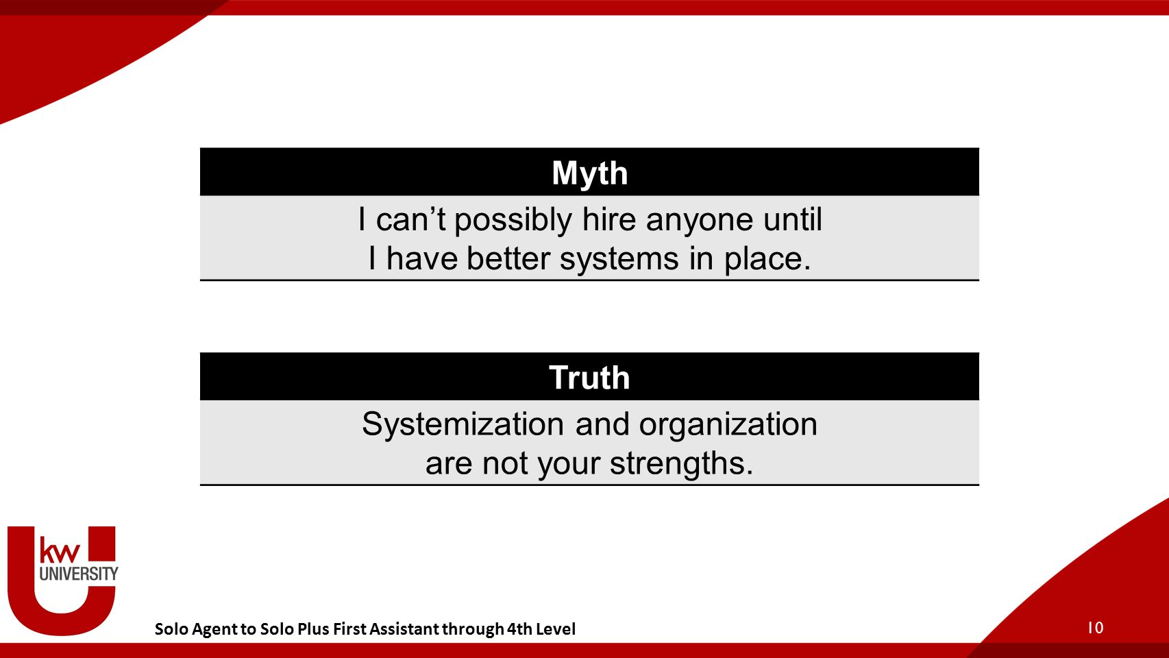 10 Myth I can't possibly hire anyone until I have better systems in place.