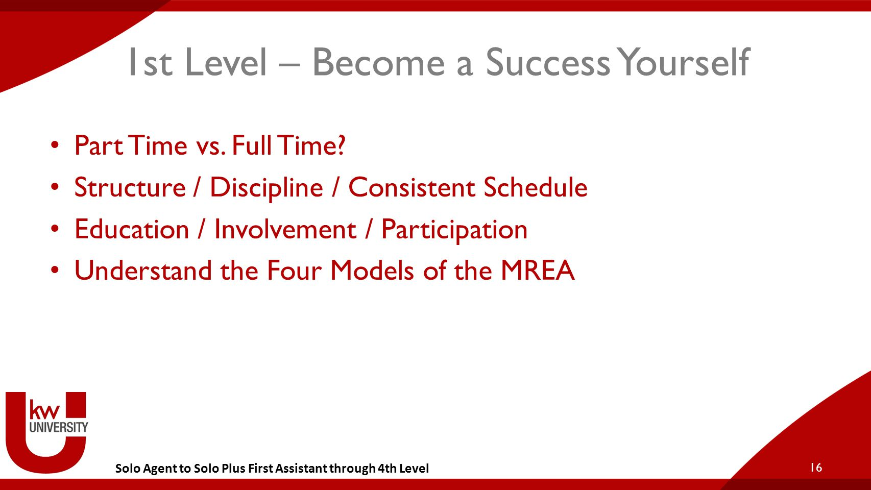 Solo Agent to Solo Plus First Assistant through 4th Level 1st Level – Become a Success Yourself Part Time vs. Full Time? Structure / Discipline / Cons