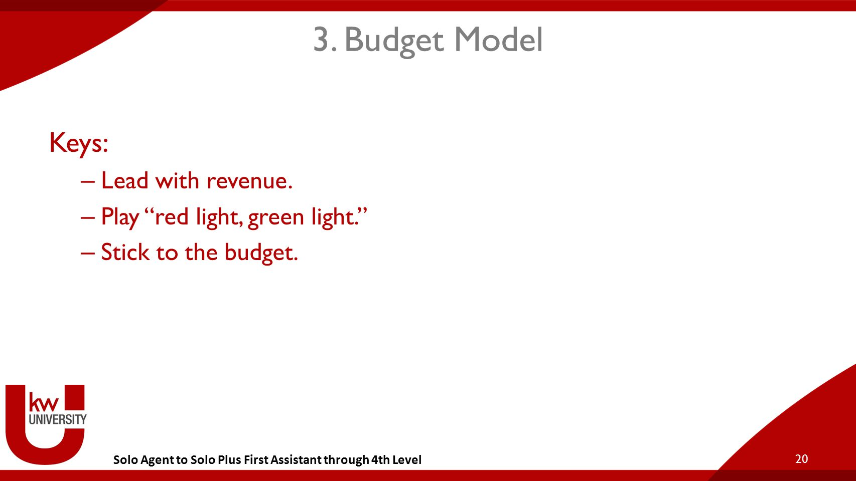 """Solo Agent to Solo Plus First Assistant through 4th Level 3. Budget Model Keys: – Lead with revenue. – Play """"red light, green light."""" – Stick to the b"""