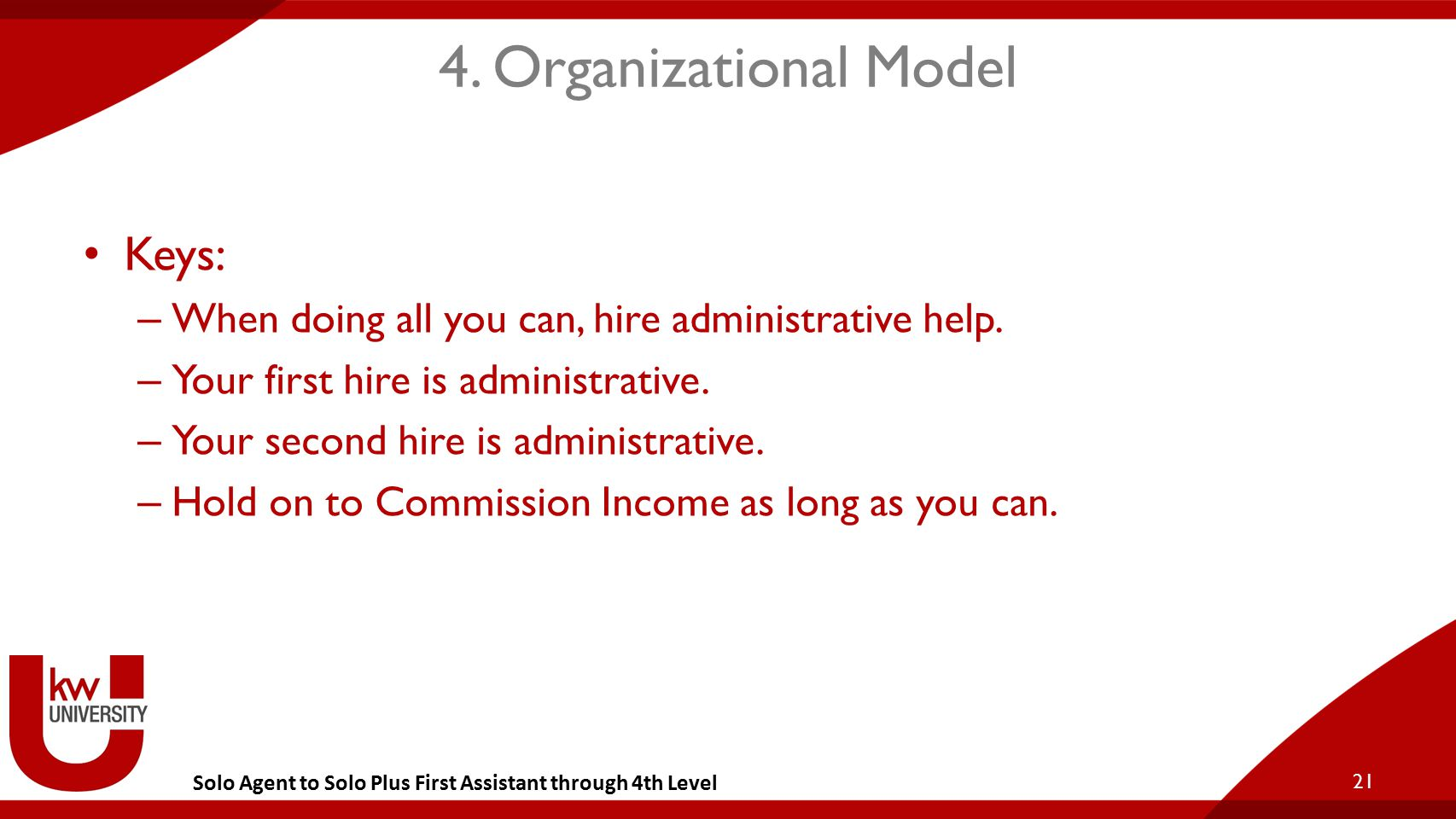 Solo Agent to Solo Plus First Assistant through 4th Level 4. Organizational Model Keys: – When doing all you can, hire administrative help. – Your fir