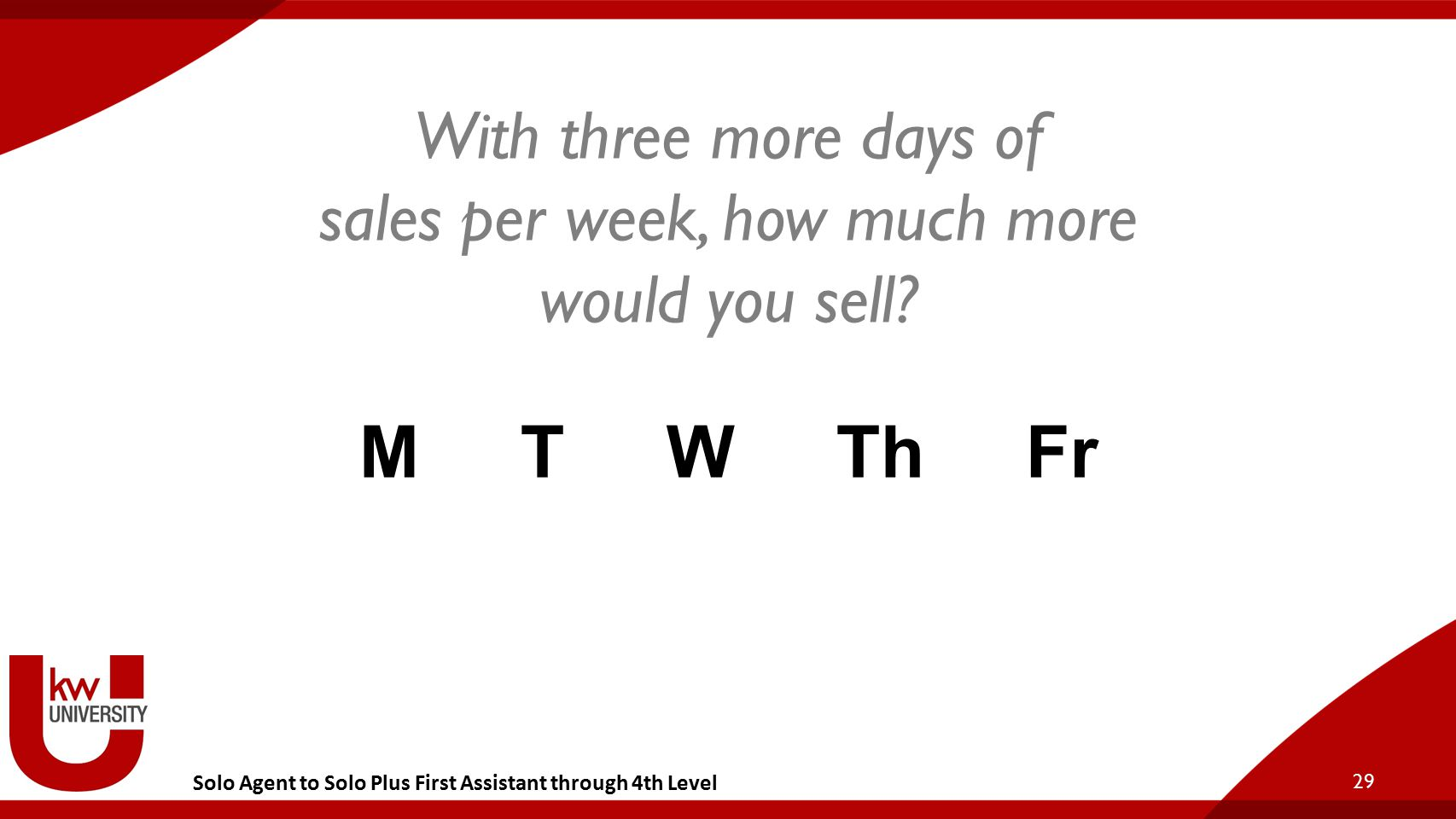 Solo Agent to Solo Plus First Assistant through 4th Level 29 With three more days of sales per week, how much more would you sell? M T W Th F r