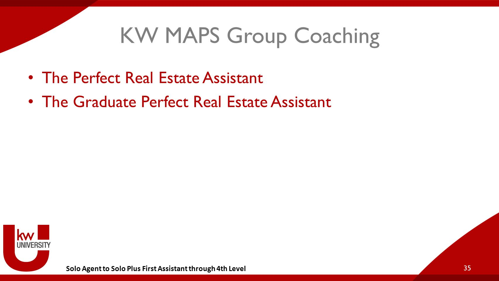 Solo Agent to Solo Plus First Assistant through 4th Level KW MAPS Group Coaching The Perfect Real Estate Assistant The Graduate Perfect Real Estate As
