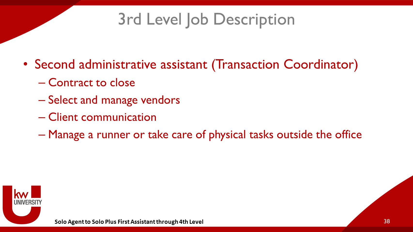 Solo Agent to Solo Plus First Assistant through 4th Level 3rd Level Job Description Second administrative assistant (Transaction Coordinator) – Contra