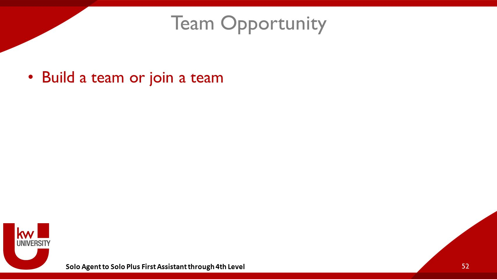 Solo Agent to Solo Plus First Assistant through 4th Level Team Opportunity Build a team or join a team 52