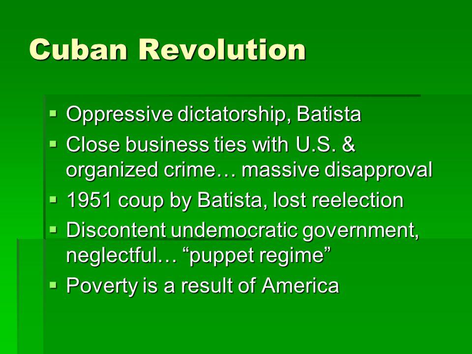 Cuban Revolution  Oppressive dictatorship, Batista  Close business ties with U.S.