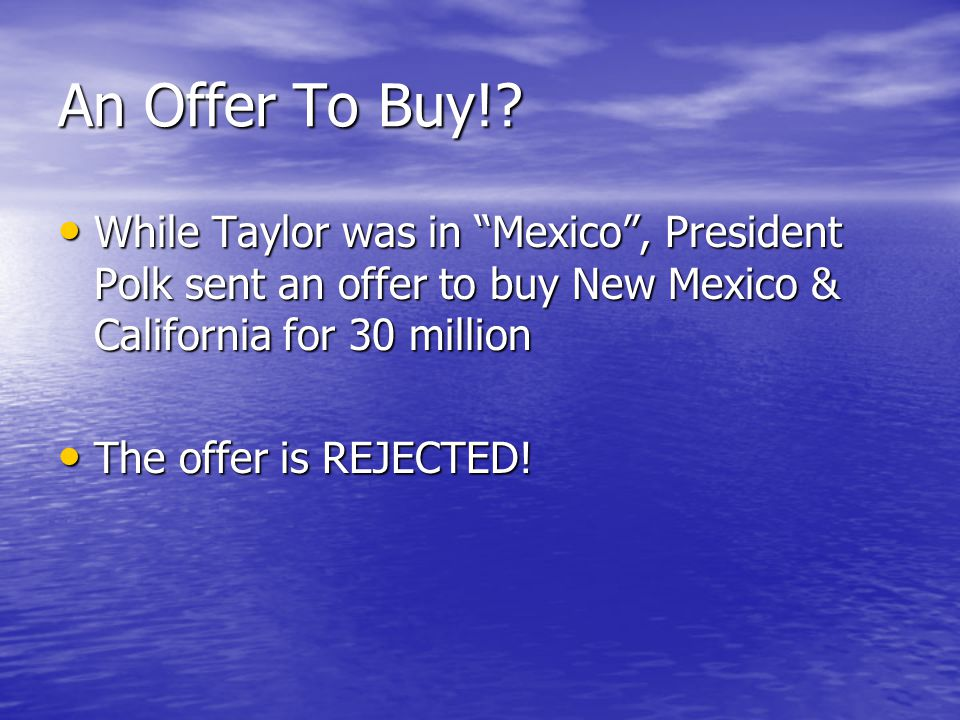 An Offer To Buy!.