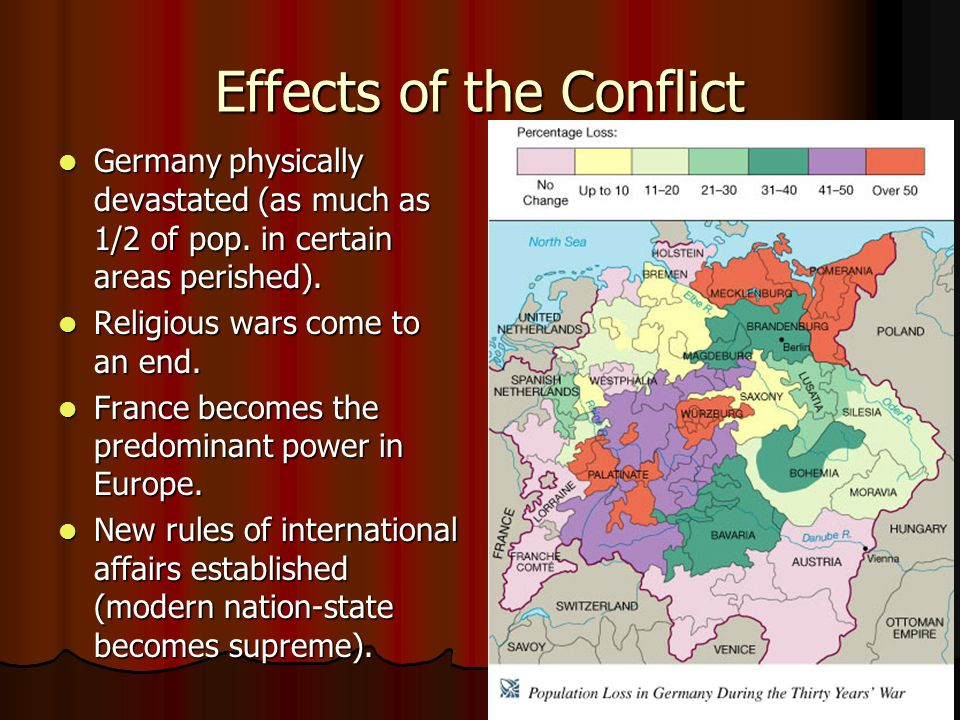 Effects of the Conflict Germany physically devastated (as much as 1/2 of pop. in certain areas perished). Germany physically devastated (as much as 1/