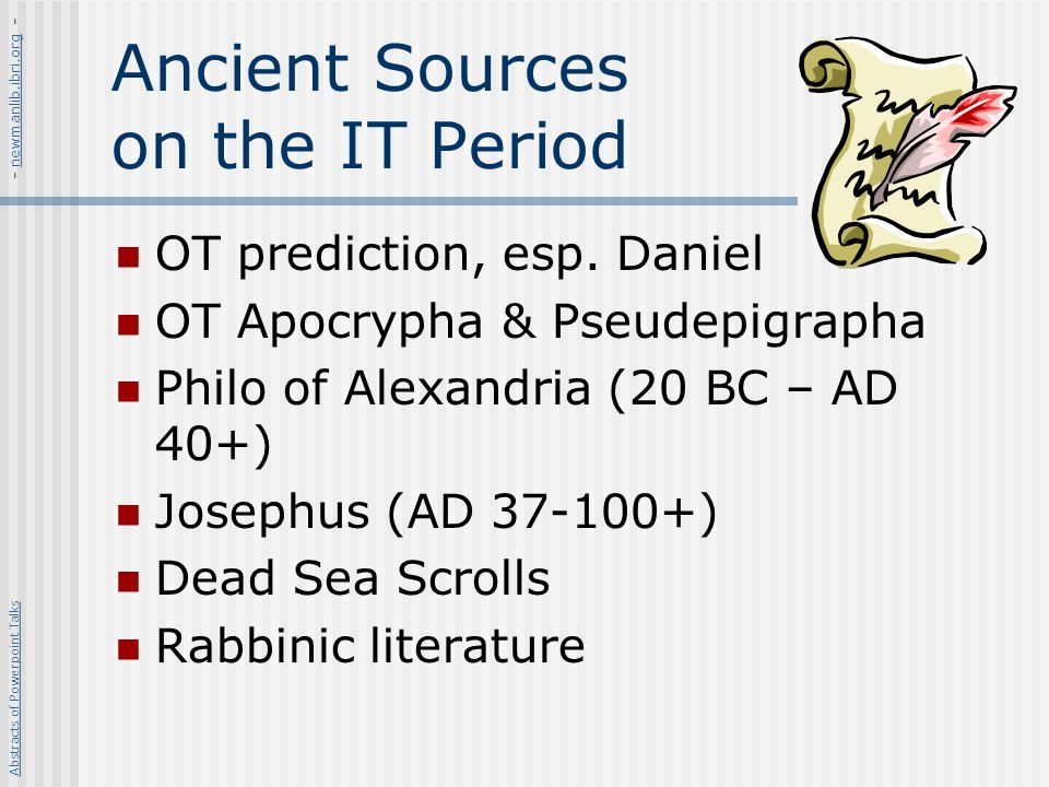 Messianic Fervor Very strong in the 1 st century AD Dissatisfaction with Roman rule Zealot leaders calling for revolt Influential in leading many Jews to participate in revolt against Rome Probably one of the reasons was that Daniel s prophecy of the 70 weeks looked like it was running out Abstracts of Powerpoint Talks - newmanlib.ibri.org -newmanlib.ibri.org
