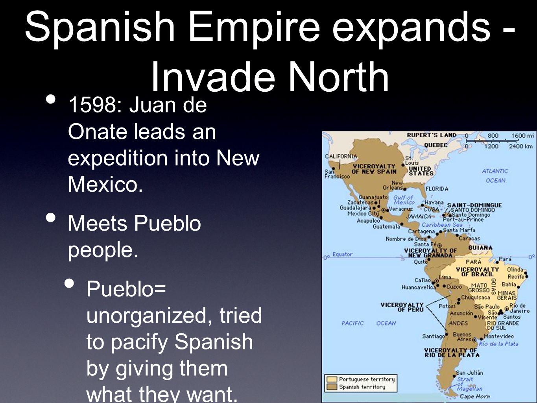 Spanish take control Juan de Onate easily takes control, institutes repatimento.