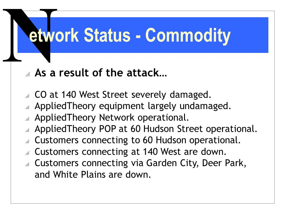 N  As a result of the attack…  CO at 140 West Street severely damaged.  AppliedTheory equipment largely undamaged.  AppliedTheory Network operatio