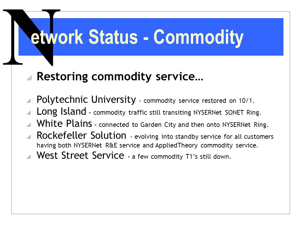 N  Restoring commodity service…  Polytechnic University - commodity service restored on 10/1.  Long Island – commodity traffic still transiting NYS