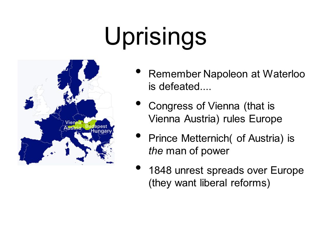 Uprisings At that time Hungary was part of Austria Uprising in Hungary led by native Magyar (nomadic warriors who entered Hungary in 900s) different language and different culture Magyars want their own country