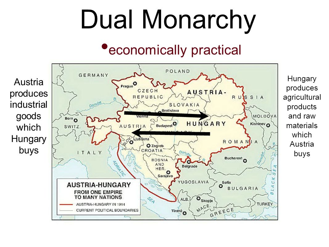 Dual Monarchy economically practical Austria produces industrial goods which Hungary buys Hungary produces agricultural products and raw materials which Austria buys