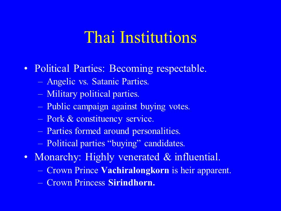 Thai Institutions Political Parties: Becoming respectable.