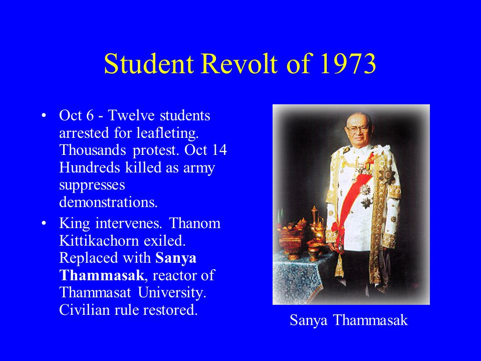 Student Revolt of 1973 Oct 6 - Twelve students arrested for leafleting. Thousands protest. Oct 14 Hundreds killed as army suppresses demonstrations. K