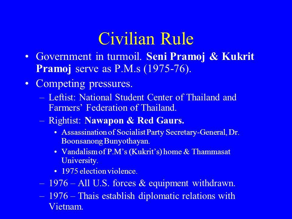 Civilian Rule Government in turmoil. Seni Pramoj & Kukrit Pramoj serve as P.M.s (1975-76). Competing pressures. –Leftist: National Student Center of T