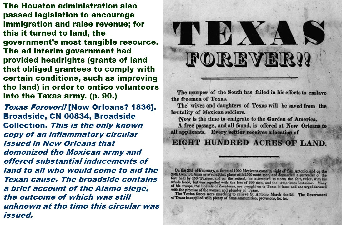 Texas Forever!! [New Orleans? 1836]. Broadside, CN 00834, Broadside Collection. This is the only known copy of an inflammatory circular issued in New