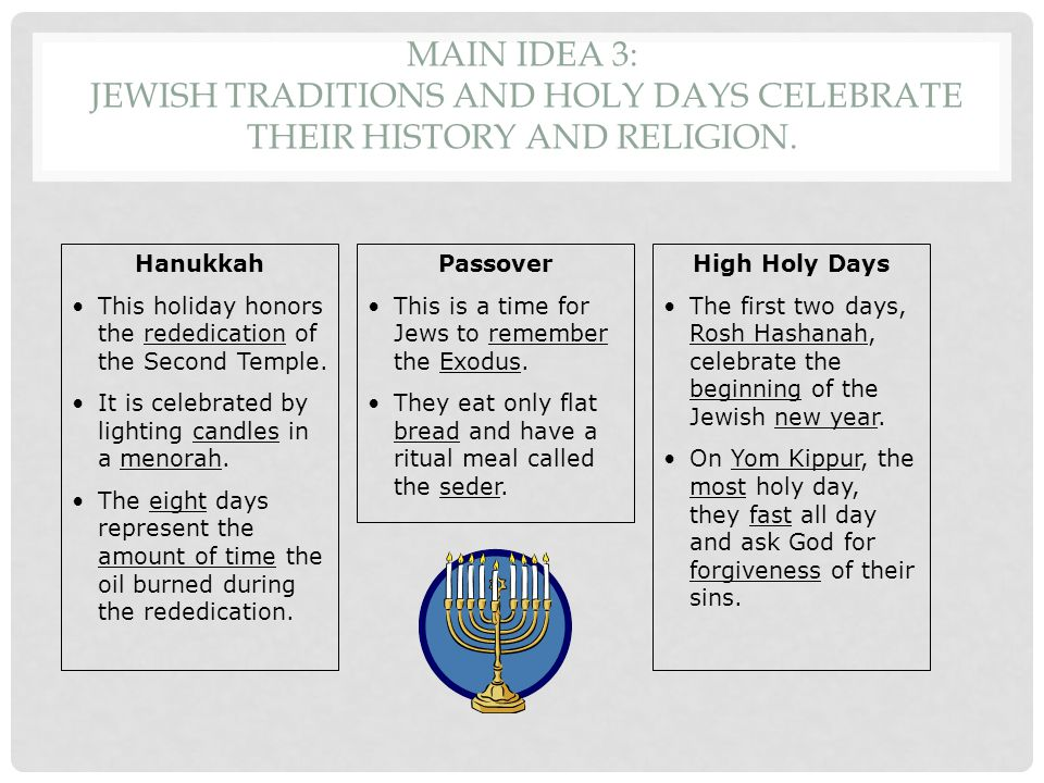 Hanukkah This holiday honors the rededication of the Second Temple.