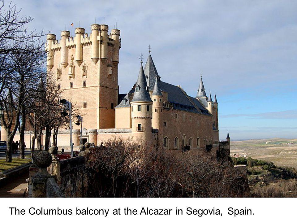 The Columbus balcony at the Alcazar in Segovia, Spain.