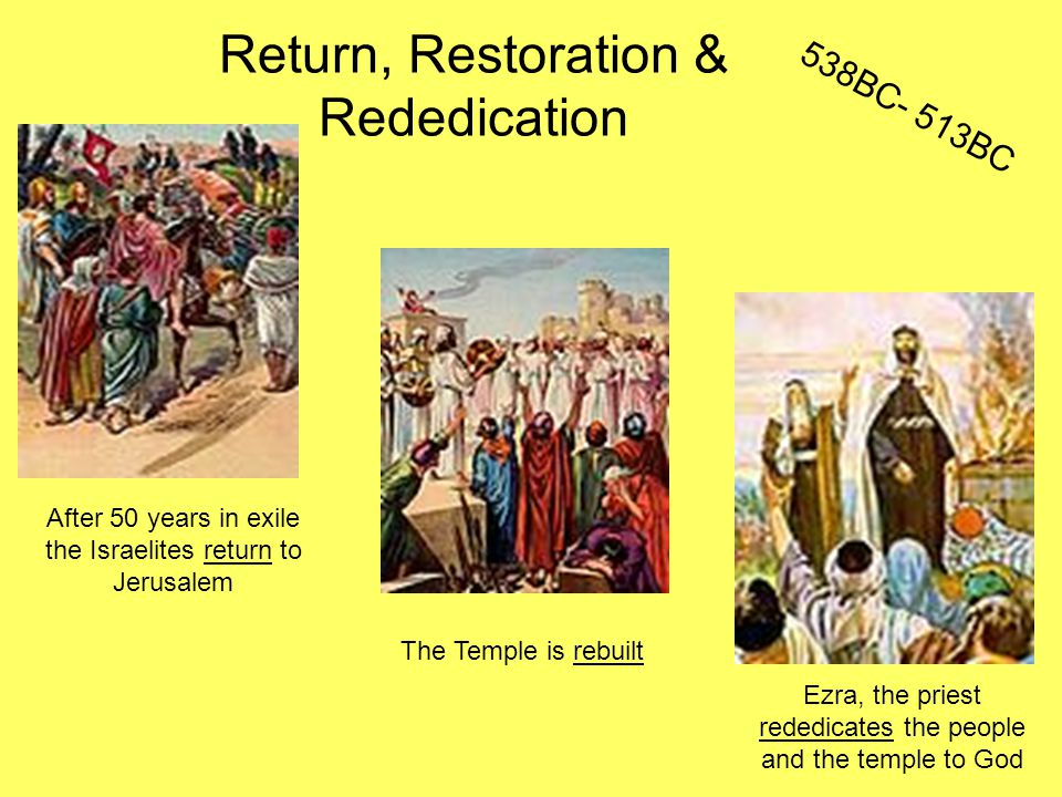 Return, Restoration & Rededication Ezra, the priest rededicates the people and the temple to God After 50 years in exile the Israelites return to Jerusalem The Temple is rebuilt 538BC- 513BC