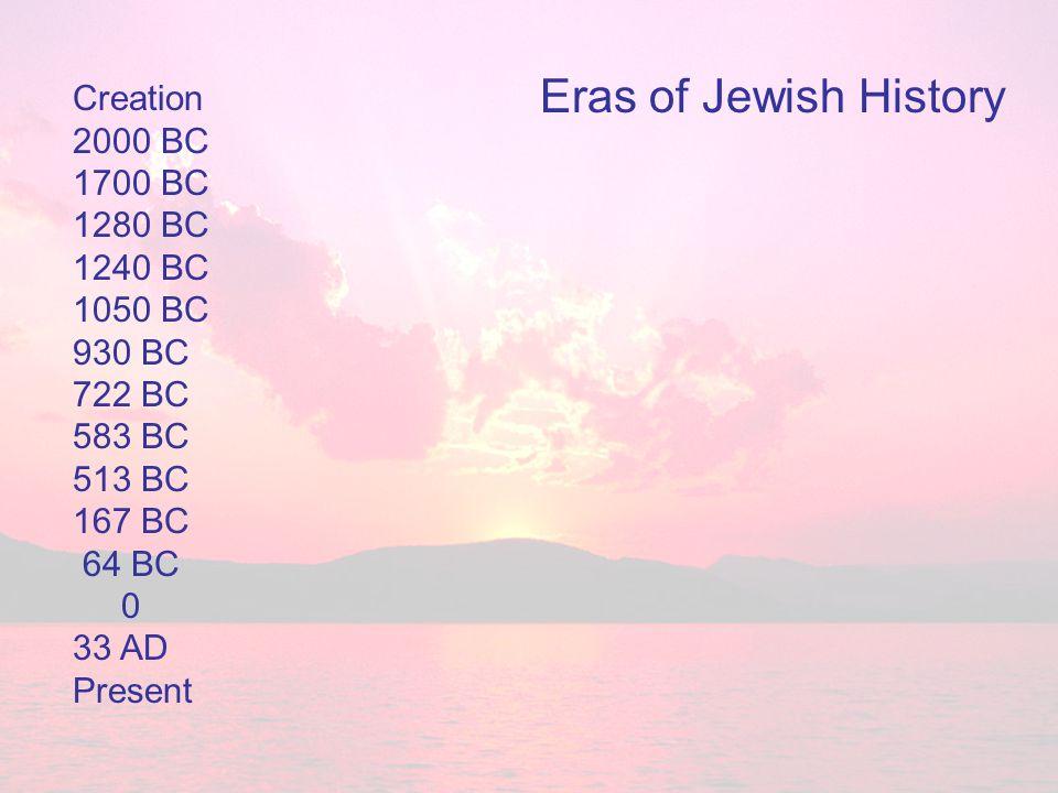 Creation 2000 BC 1700 BC 1280 BC 1240 BC 1050 BC 930 BC 722 BC 583 BC 513 BC 167 BC 64 BC 0 33 AD Present Eras of Jewish History