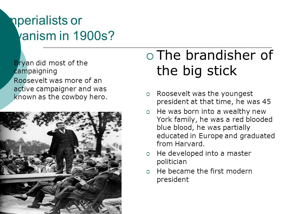 Imperialists or Bryanism in 1900s.