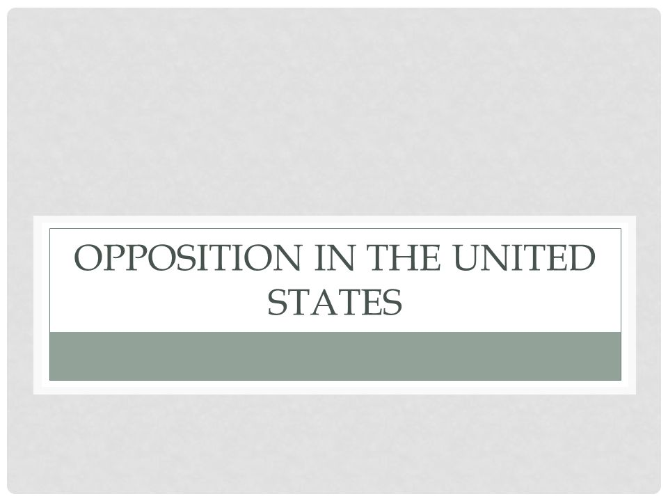 OPPOSITION IN THE UNITED STATES
