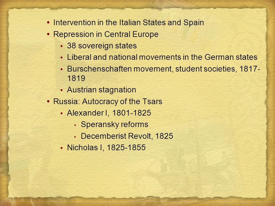  Intervention in the Italian States and Spain  Repression in Central Europe  38 sovereign states  Liberal and national movements in the German sta