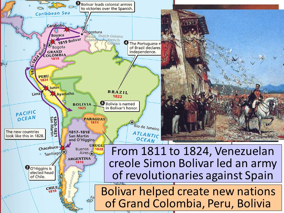 From 1811 to 1824, Venezuelan creole Simon Bolivar led an army of revolutionaries against Spain Bolivar helped create new nations of Grand Colombia, P