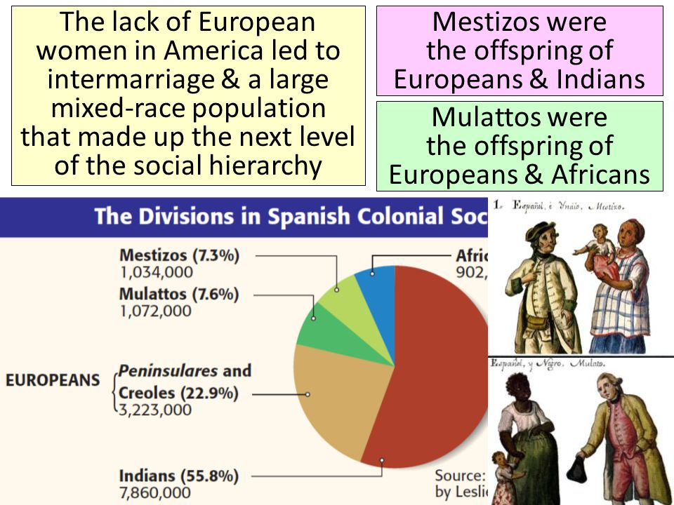 The lack of European women in America led to intermarriage & a large mixed-race population that made up the next level of the social hierarchy Mestizo