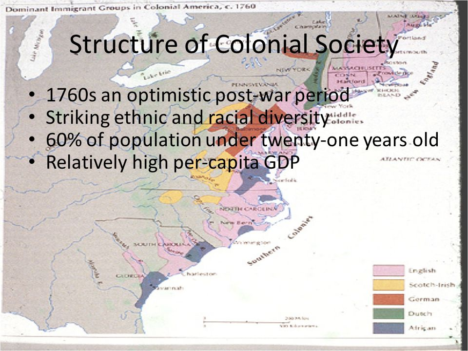 Structure of Colonial Society 1760s an optimistic post-war period Striking ethnic and racial diversity 60% of population under twenty-one years old Re