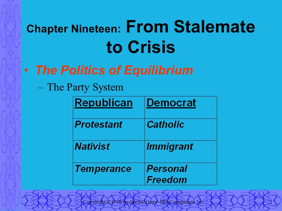 Copyright ©1999 by the McGraw-Hill Companies, Inc.2 Chapter Nineteen: From Stalemate to Crisis The Politics of Equilibrium –The Party System