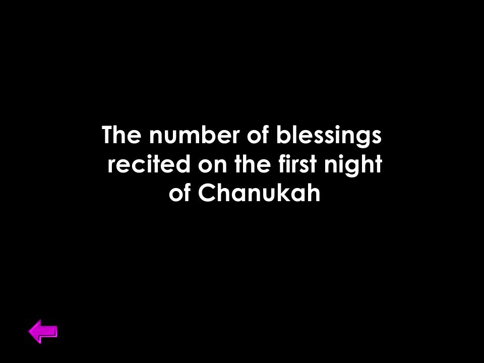 The number of blessings recited on the first night of Chanukah