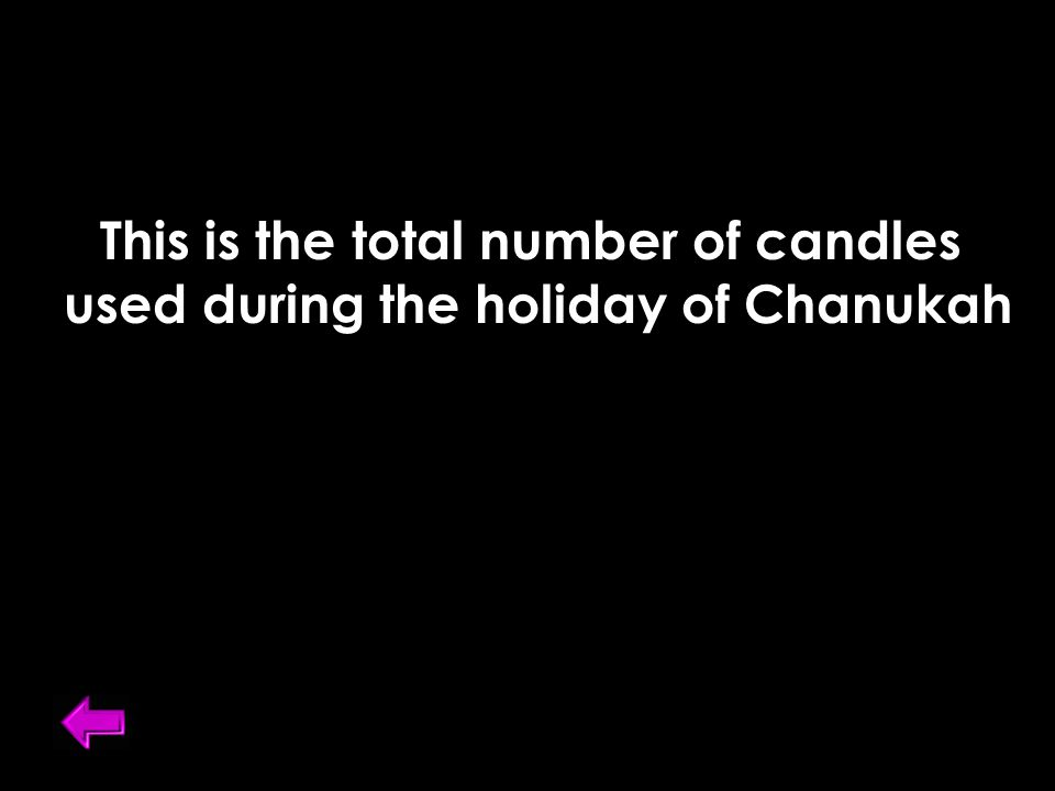This is the total number of candles used during the holiday of Chanukah
