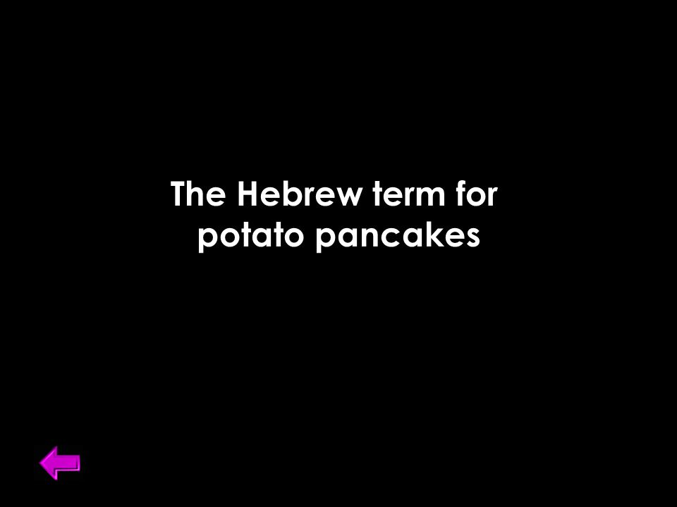 The Hebrew term for potato pancakes
