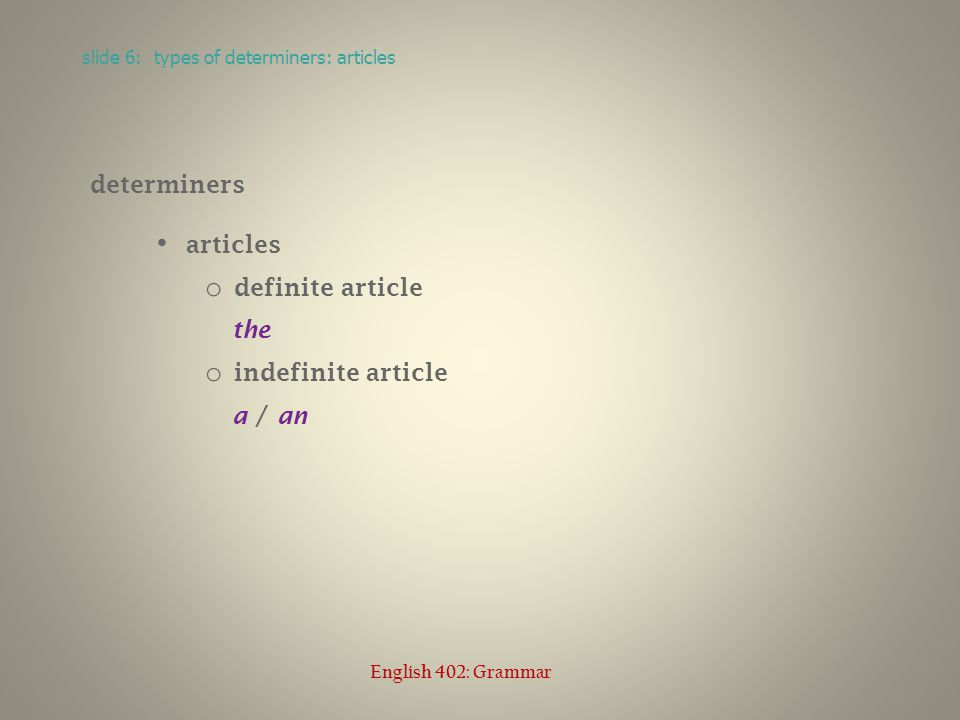 determiners articles o definite article the o indefinite article a / an slide 6: types of determiners: articles English 402: Grammar