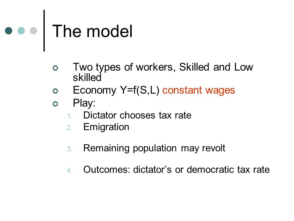 The model Two types of workers, Skilled and Low skilled Economy Y=f(S,L) constant wages Play: 1.