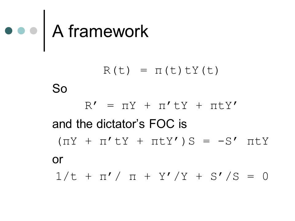 A framework R(t) = π(t)tY(t) So R' = πY + π'tY + πtY' and the dictator's FOC is (πY + π'tY + πtY')S = -S' πtY or 1/t + π'/ π + Y'/Y + S'/S = 0