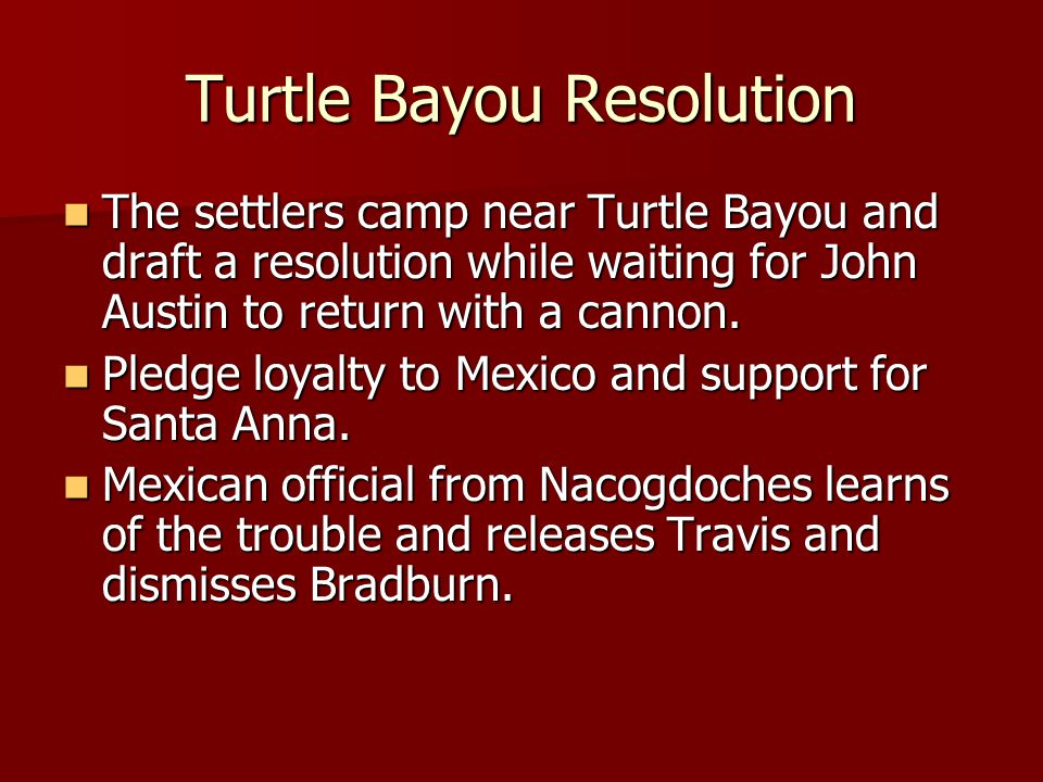 Turtle Bayou Resolution The settlers camp near Turtle Bayou and draft a resolution while waiting for John Austin to return with a cannon. The settlers