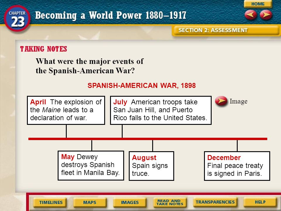 What were the major events of the Spanish-American War? SPANISH-AMERICAN WAR, 1898 April The explosion of the Maine leads to a declaration of war. Ima