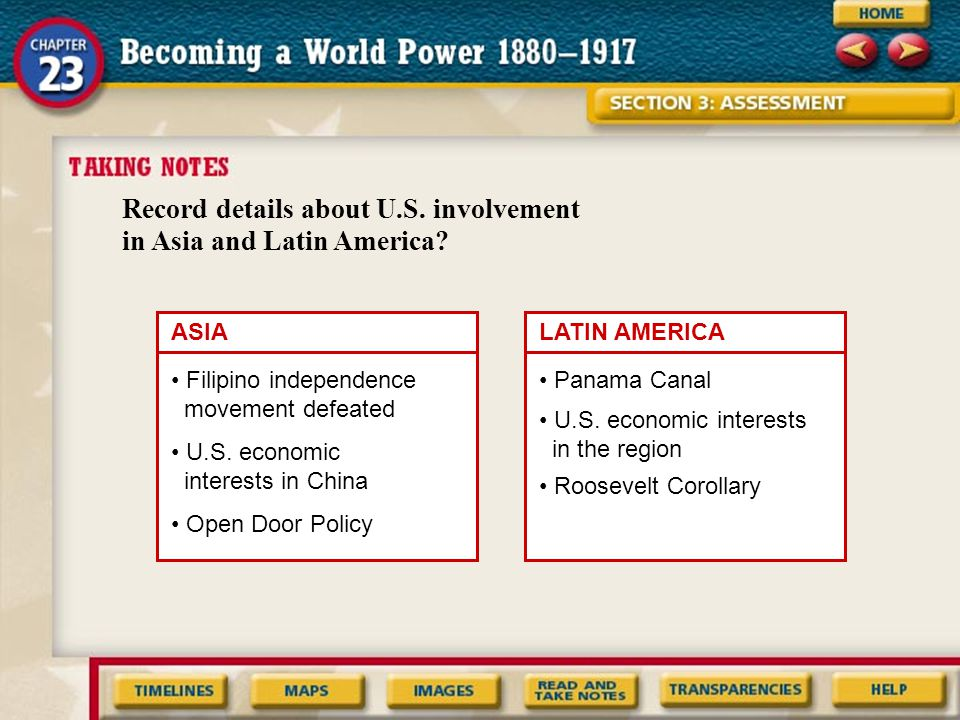 Record details about U.S. involvement in Asia and Latin America? ASIALATIN AMERICA Filipino independence movement defeated U.S. economic interests in