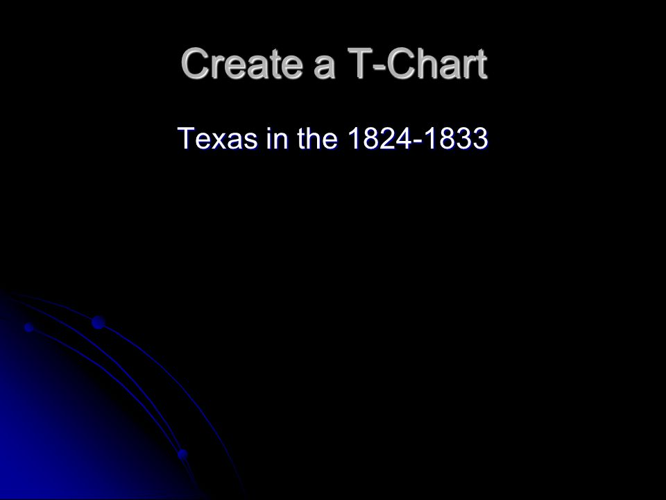 Create a T-Chart Texas in the 1824-1833