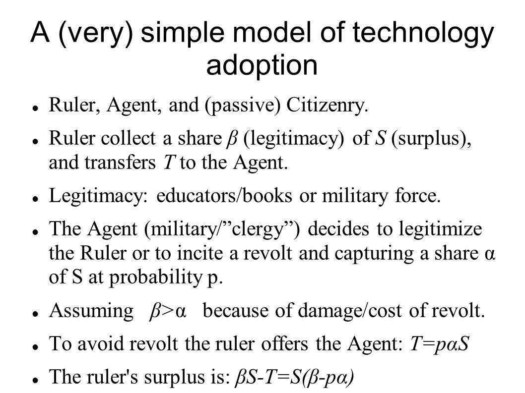 A (very) simple model of technology adoption Ruler, Agent, and (passive) Citizenry. Ruler collect a share β (legitimacy) of S (surplus), and transfers