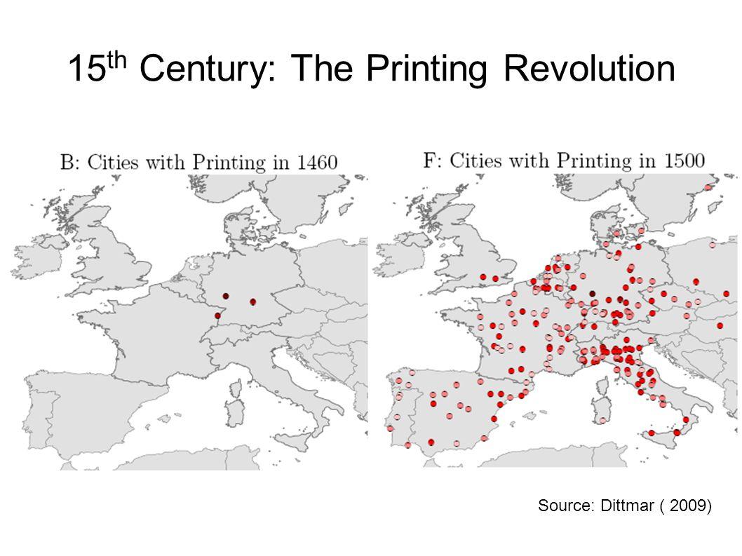 15 th Century: The Printing Revolution Source: Dittmar ( 2009)
