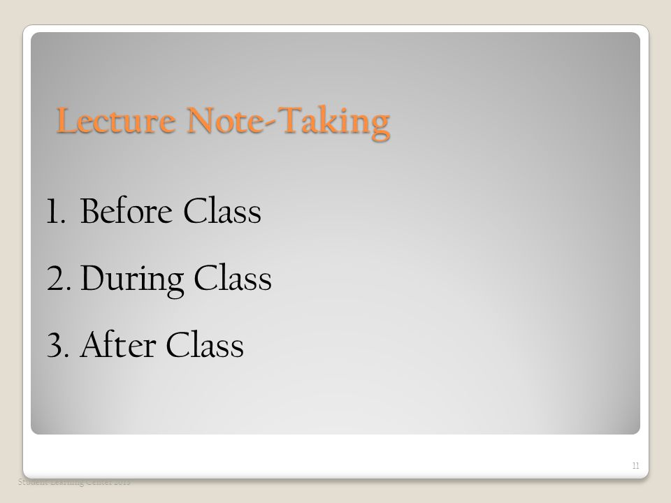 Lecture Note-Taking Lecture Note-Taking Student Learning Center 2013 11 1.Before Class 2.During Class 3.After Class