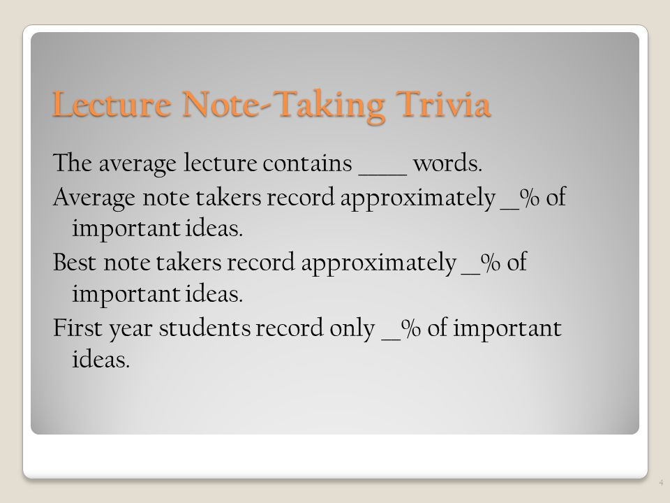 Lecture Note-Taking Trivia The average lecture contains _____ words.
