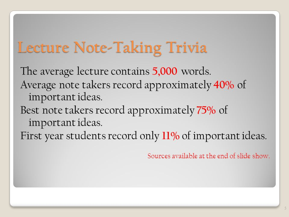 Lecture Note-Taking Trivia The average lecture contains 5,000 words.