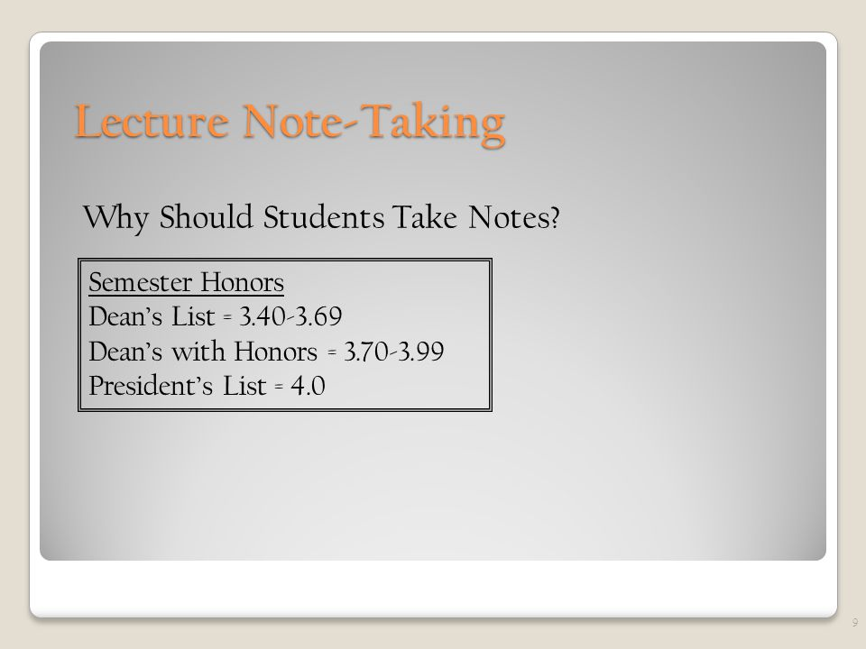 Lecture Note-Taking Why Should Students Take Notes.