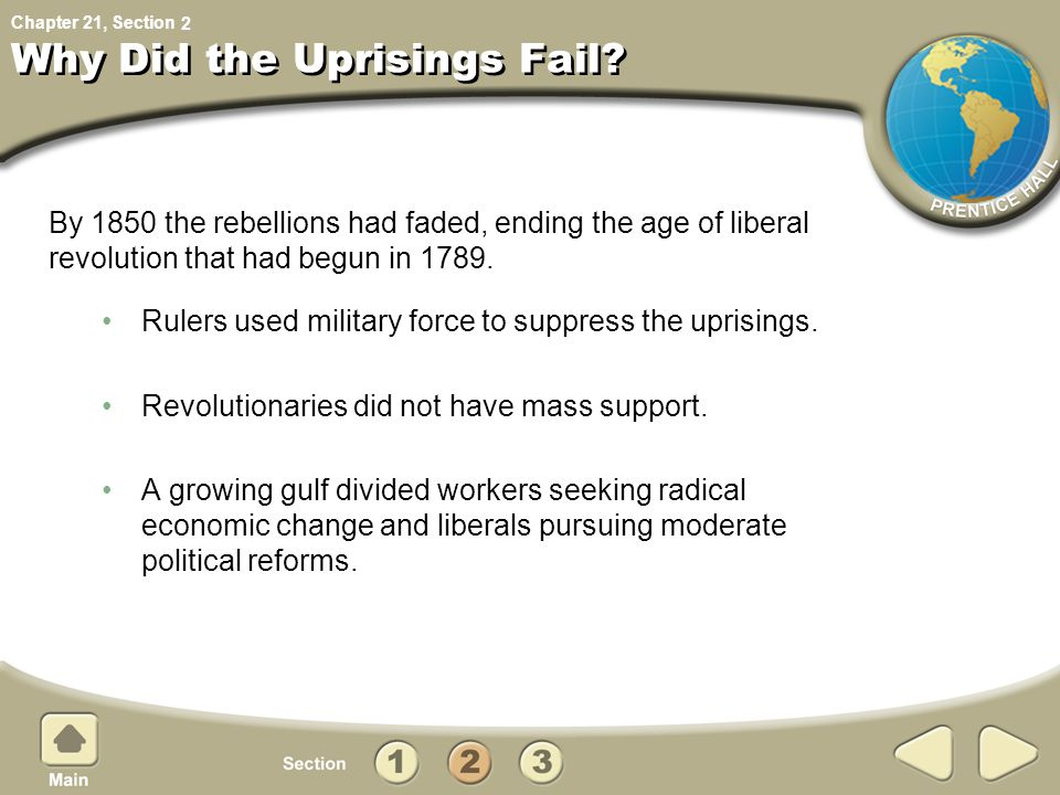 Chapter 21, Section Why Did the Uprisings Fail.