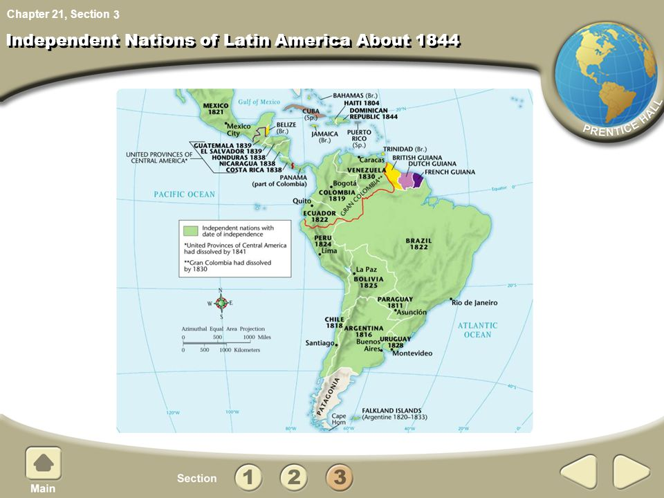 Chapter 21, Section Independent Nations of Latin America About 1844 3